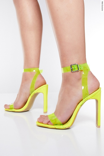 Neon Yellow Clear Square Toe Heels